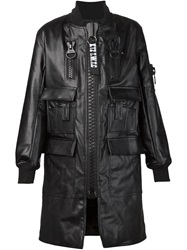 Ktz Oversize Zip Cape Coat Black