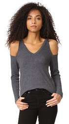 Lna Nix Cold Shoulder Top Charcoal