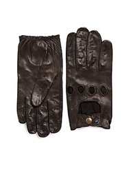Saks Fifth Avenue Black Perforated Leather Driver Gloves Brown