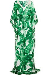 Dolce And Gabbana Printed Silk Chiffon Gown Green