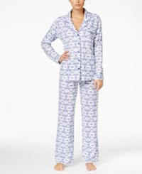 Charter Club Satin Trimmed Printed Pajama Set Only At Macy's Snowflake Scroll