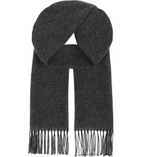 Aspinal Of London Reversible Merino Wool And Cashmere Scarf Black