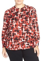 Classiques Entier Mandarin Collar Print Stretch Silk Blouse Plus Size Red