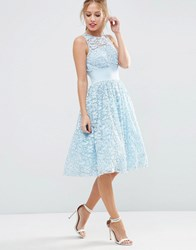 Asos Salon Lace Applique Midi Prom Dress Blue