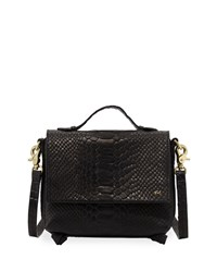 Foley Corinna Gigi Snake Embossed Leather Flap Crossbody Bag Black