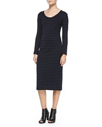 Nicole Miller Artelier Long Sleeve Fitted Striped Dress Black Blue
