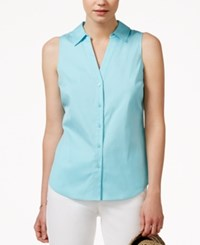 Maison Jules Sleeveless Button Down Shirt Only At Macy's Angel Blue