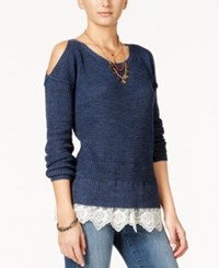 American Rag Cold Shoulder Lace Trim Sweater Only At Macy's Dark Denim Combo