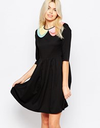 The Whitepepper The White Pepper 3 4 Sleeve Skater Dress With Contrast Collar Black