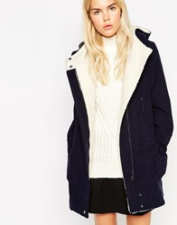 See U Soon Hooded Coat With Borg Lining Navy