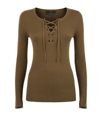 Set Lace Up Ribbed Top Female Brown