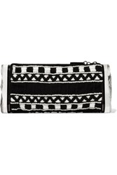 Edie Parker Soft Lara Embroidered Cotton And Acrylic Clutch Black