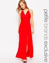True Decadence Petite Wrap Front Maxi Dress Red