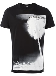 Diesel Palm Tree Print T Shirt Black