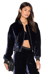 Alexander Wang Silk Velvet Batted Bomber Navy