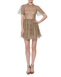 Valentino Star Embroidered Tulle Net Shirtdress Gold