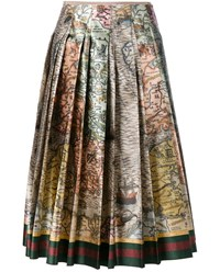 Gucci Sea Map Print Silk Skirt Multi Coloured Brown Pink