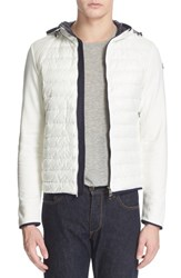 Men's Moncler Mixed Media Hooded Down Jacket White