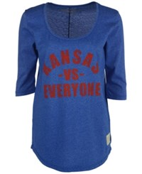 Retro Brand Women's Kansas Jayhawks Kat Vs Everyone Mock Twist T Shirt Royalblue