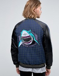 Asos Bomber Jacket In Dogtooth With Shark Embroidery Black