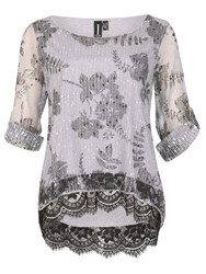 Izabel London Net Top With Sequin Embellishment Grey