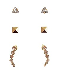 Cara Accessories Stud And Drop Earrings Set Of 3 Pairs Compare At 30 Gold Crystal