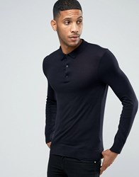 New Look Knitted Long Sleeve Polo In Navy Navy Blue