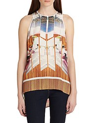Clover Canyon Room With A View Hi Lo Chiffon Tank Multi