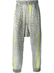 Roberto Cavalli Python Skin Print Drop Crotch Trousers Multicolour