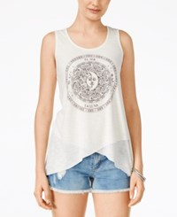 Self Esteem Juniors' Sun And Moon Asymmetrical Hem Graphic Tank Egret