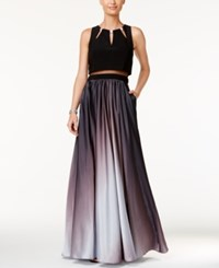 Betsy And Adam Ombre Two Piece A Line Gown Black Silver