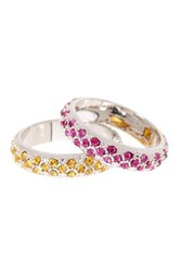 Ariella Collection Pave Stack Ring Set Multi
