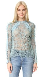 Self Portrait Cutout Floral Top Icy Blue