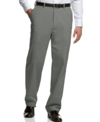 Haggar Classic Fit Microfiber Performance Flat Front Dress Pants Heather Gray