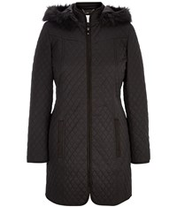 Cc Hooded Quilted Coat Black