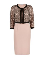 Gina Bacconi Dainty Embroidered Lace Dress And Jacket Pink