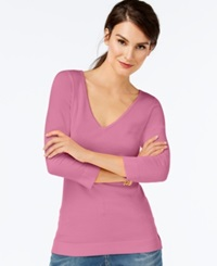 Inc International Concepts V Neck Three Quarter Sleeve Sweater Only At Macy's Pink Sachet