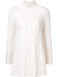 Ryan Roche Cable Knit Jumper White