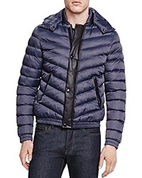 The Kooples Soft Nylon And Leather Jacket Navy
