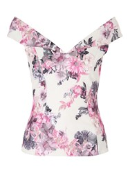 Jane Norman Floral Bartot Top Multi Coloured