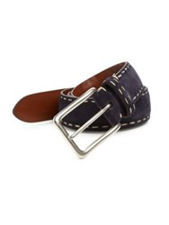 Saks Fifth Avenue Contrast Stitched Suede Belt Navy