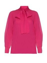 Gucci Tie Neck Silk Georgette Blouse Pink