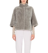 Max Mara Shearling Cropped Jacket Grey