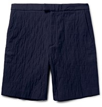 Public School Oshu Quilted Cotton Shorts Blue