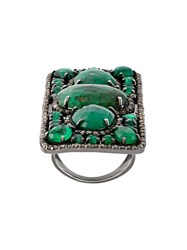 Loree Rodkin Rectangular Diamond And Emerald Ring Green