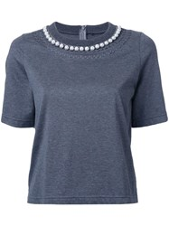 Muveil Pearl Embellished T Shirt Grey