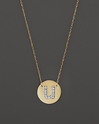 Jane Basch 14K Yellow Gold Circle Disc Pendant Necklace With Diamond Initial 16 U