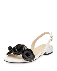 Ida Leather Flower Sandal White Black Taryn Rose