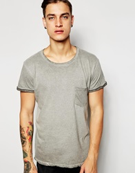 Pullandbear T Shirt High Roll Up Sleeve Grey