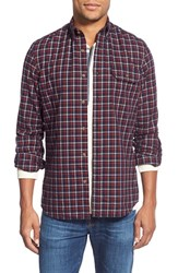 Nordstrom Men's Big And Tall Men's Shop Trim Fit Long Sleeve Plaid Flannel Sport Shirt Navy Peacoat Grey Shade